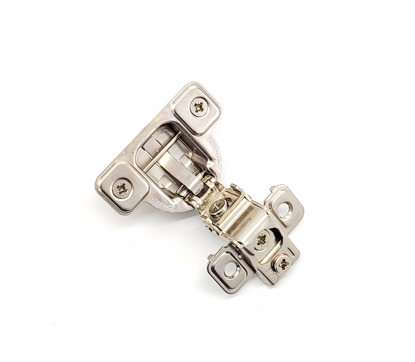 """Picture of Salice 1 3/8"""" Overlay Dowel Mounting Hinge - (3 Cam) in Nickel for 106° Opening Angle"""