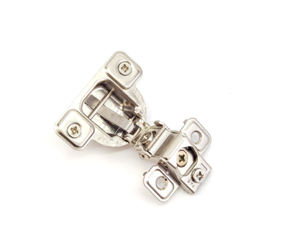 """Picture of Salice 1"""" Overlay Dowel Mounting Hinge - (3 Cam) in Nickel for 106° Opening Angle"""