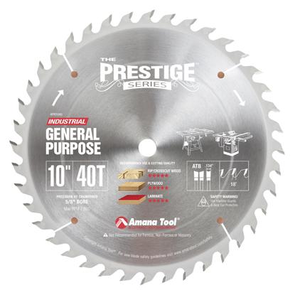Picture of PR1040 Carbide Tipped Prestige General Purpose 10 Inch Dia 40T ATB, 18 Deg, 5/8 Bore