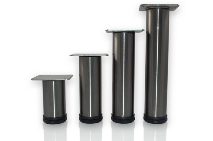 """Picture of Peter Meier 4"""" Tall Como Furniture Legs in Como Brushed Steel (552-10-ST)"""