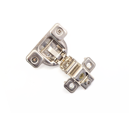 """Picture of Salice 1 7/16"""" Overlay Dowel Mounting Hinge - (3 Cam) in Nickel for 106° Opening Angle"""