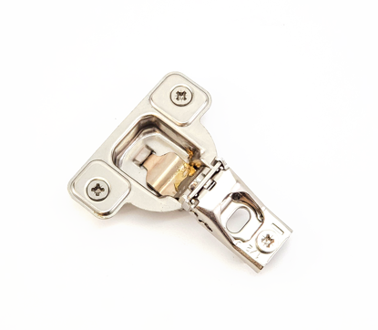 """Picture of Salice 1/2"""" Overlay Dowel Mounting Hinge (2 Cam) in Nickel for 106° Opening Angle"""